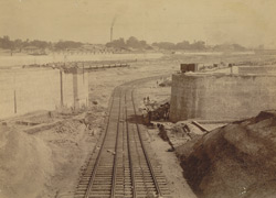 Dock No. 1 looking towards River, showing temporary [railway] lines for removal of spoil [Kidderpore Docks, Calcutta]